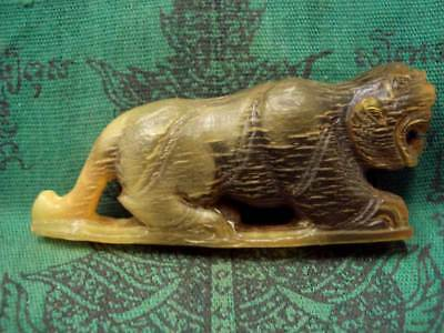 Tiger Statue Carved Talisman LP Sin Wat Lahan Yai Magic Power Thai Buddha Amulet