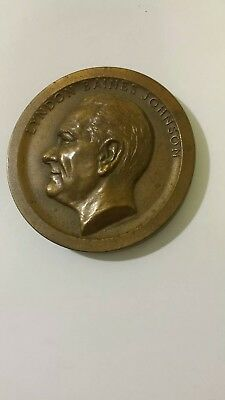 1969 Lyndon Baines Johnson Presidential Inauguration Brass comemorative coin