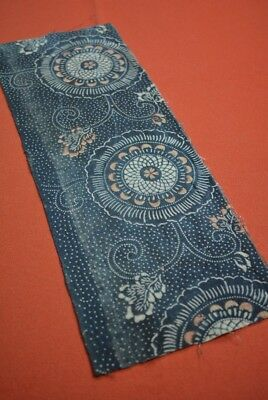 QB84/25 Vintage Japanese Fabric Cotton Antique Boro Indigo Blue KATAZOME 17.7""