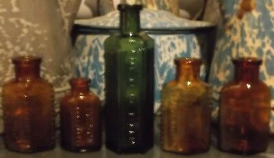 5 Very Early Old Antique Colored Poison Bottles One Honey Yellow One Green Color