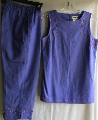 Napa Valley Dresses Women's 2 Piece Pant Set Sleeveless Top 8 Embellished