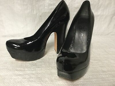 8ffe9853aed3 Alice   Olivia Black Patent Leather Platform Heels Shoes 39 9 Pumps Sexy EUC