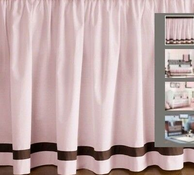 Restoration Hardware Crib Skirt Pink & Brown European Contrast Pipe Nursery