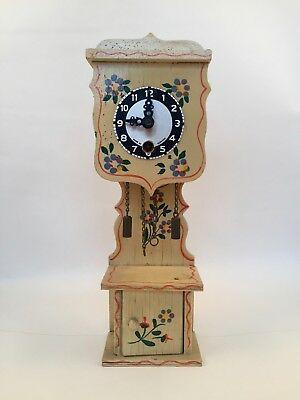 Vintage German  Heco Turquoise Floral Clock for repair or parts