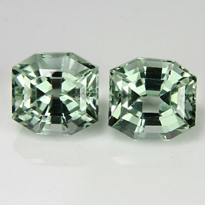5.61Cts Hi-Look Natural Green Amethyst prasiolite Fancy Cut Matchin Pair  VDO