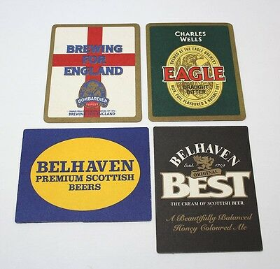 Coasters Lot Of 4 Assorted Beer Brewmania Square Eagle,Belhaven Collectable
