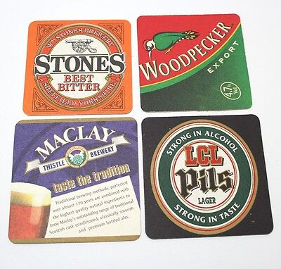 Coasters Lot Of 4 Beer Assorted Brewmania Square Stones Woodpecker Collectable