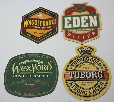 Coasters Lot Of 4 Assorted Beer Custom Designs Brewmania Tuborg, Eden Collectabl