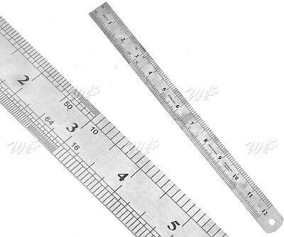 """New Metric & Imperial Ruler Metal Drawing Stationery Double Sided 30CM/12"""""""