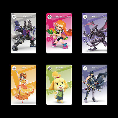 6PCS PVC NFC Cards Super Smash Bro. Ultimate Ridley, Wolf, Inkling  for Switch