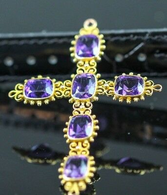 Antique Victorian Style Solid 14K Gold Crucifix Cross Pendant Necklace Amethyst