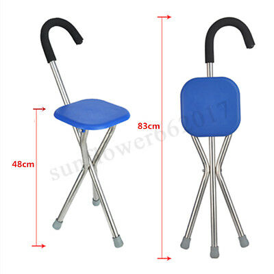 130KG Max Portable Walking Stick w/ Seat Folding Tripod Cane Hiking Chair AU