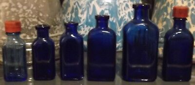 6 Different Very Early Old Antique Cobalt Blue Colored Poison Bottles