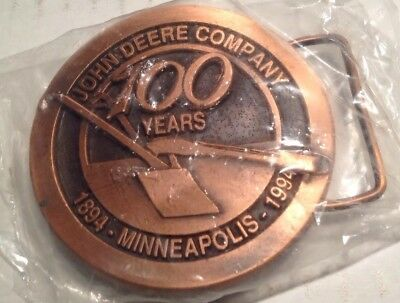 John Deere Company Minneapolis Branch 100th Anniversary Bronze Belt Buckle 1994
