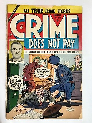 """Rare 1947 Lev Gleason CRIME DOES NOT PAY #130 * """"The Blind Gunman"""""""