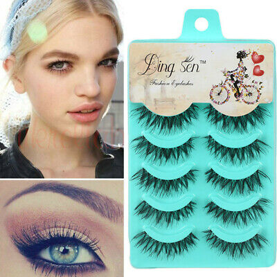 5 Pairs Mink Natural Thick False Fake Eyelashes Eye Lashes Makeup Extension