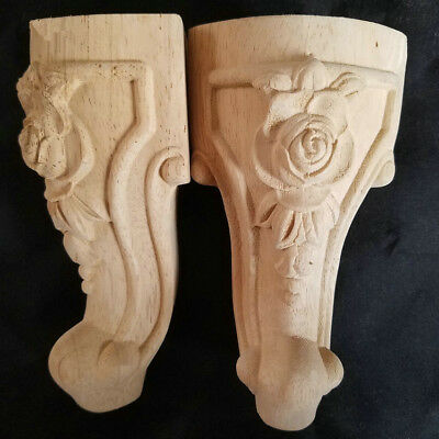 4 Pcs Hand-Carved wood Cabinets table bases feet Corbel Onlay Solid