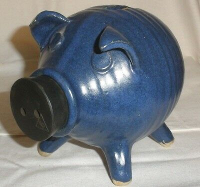 Vintage Ceramic Cobalt Piggy Bank MCM Pottery Pig Blue Figurine Figure MINT