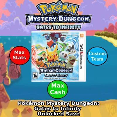 Unlocked Pokemon Mystery Dungeon: Gates to Infinity | Max Cash & Stats | 3DS