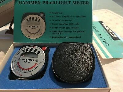 hanimex light meter model cds pr-60 in box with manual and original case