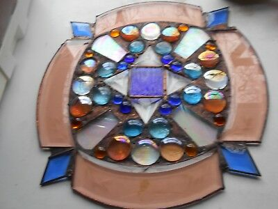 Amber  Etched Stained Glass  With Jewels