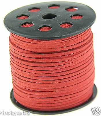 10yd 3mm red Suede Leather String Jewelry Making Thread Cords hot