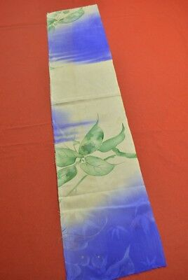 MM11/25 Vintage Japanese Kimono Fabric Silk Antique Boro Kusakizome 34.6""