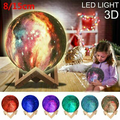 15CM Dimmable 3D Printing LED Night Light Moon Lamp Touch Control USB Charging