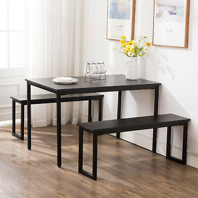 Wood 3 Piece Dining Table Sets 2 Bench Chair Rectangular Table Kitchen Furniture