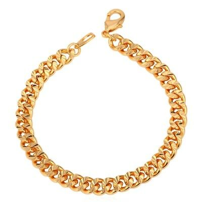 Bracelet Chain Link Cuban Curb Gold 8 Sterling Silver Yellow Mens Solid 7 Womens