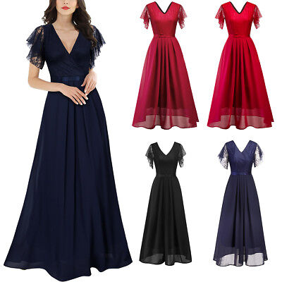 US Ladies Long Chiffon Lace Evening Formal Party Ball Gown Prom Bridesmaid Dress