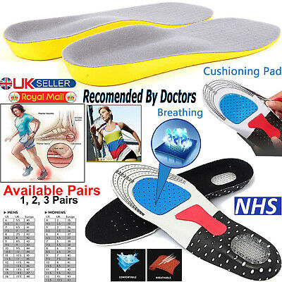 Work Boots Shoe Insoles Foot Heel Gel Inserts Pads Orthotic Arch Support Feet.