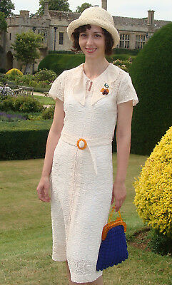 Vintage 1930s summer cotton lace dress small