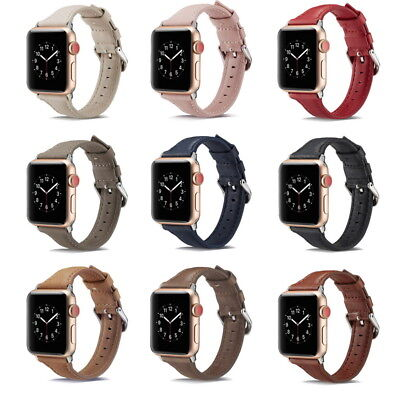 Genuine Leather Wrist Band Strap For Apple Watch iWatch 4/3/2/1 40mm/44mm Buckle