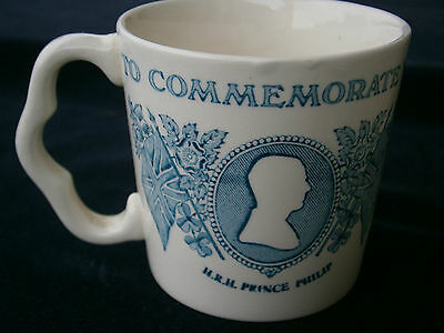 Queen's Royal Silver Jubilee blue commemoration Mug, by Mason's