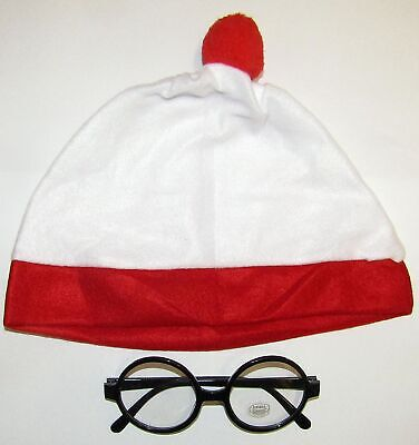 37a2368c082 White With Red Bobble Hat And Book Week Wally Thick No Lens Glasses Fancy  Dress