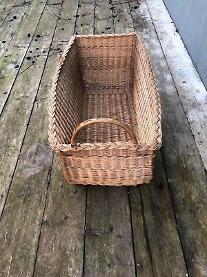 Antique French extra large hand woven log basket storage