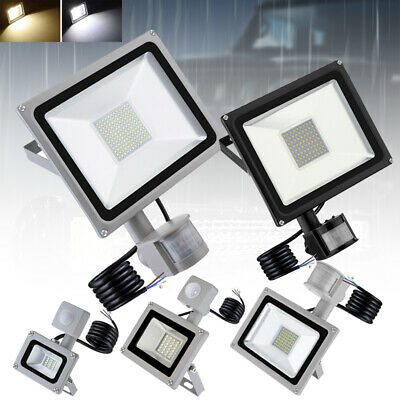 LED PIR Floodlight 10/20/30/50/100W Garden Security Flood Lights Warm Cool IP65