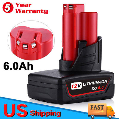 12volt For Milwaukee 48-11-2460 XC6.0 Cordless M12 battery 48-11-2401 48-11-2402