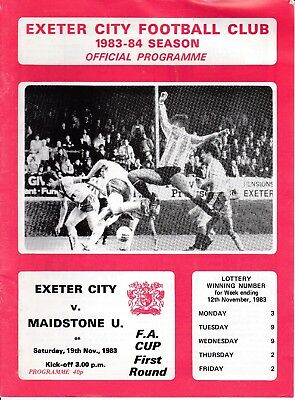 Exeter City v Maidstone United FA Cup 1st Round 1983/84