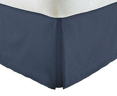 Semplicemente morbido Premium Pleated Bed Skirt Dust Ruffle, Navy, King (Q2H)