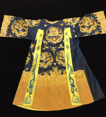Vintage Chinese Dignitary Imperial Dragon Blue & Gold Silk Brocade robe dragon