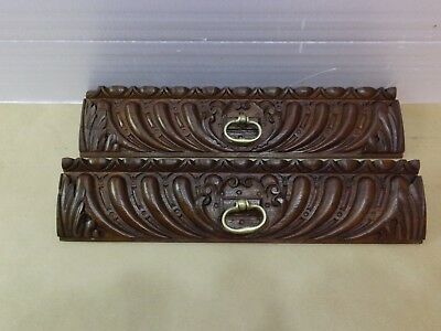 French antique, two pretty old carved solid oak drawer fronts