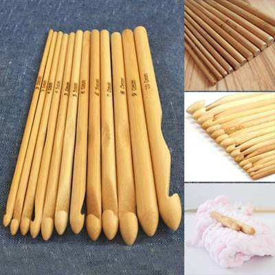 12 Pcs/Set DIY Crochet Hooks 3mm-10mm Bamboo Handle Crochet Knitting Tool Crafts
