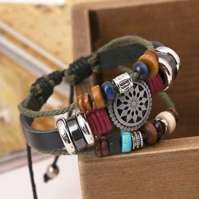 1 pc Handmade Braided Genuine Leather Bracelets Bangles Vintage Engraved Jewelry