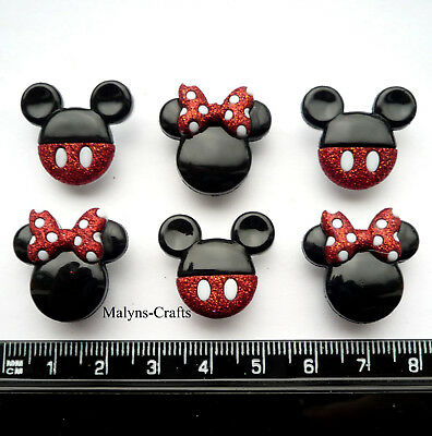 Disney MICKEY & MINNIE GLITTER Craft Buttons 1ST CLASS POST Mouse Bow Christmas