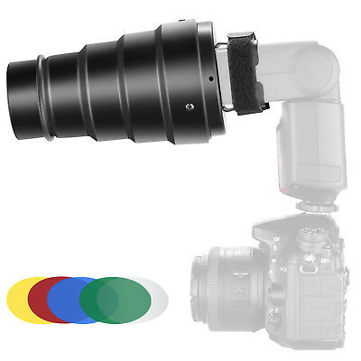 Neewer Conical Snoot Kit with Grid and Filters for Canon Nikon Flash Speedlites