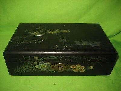 Chinese Black  Wood and Mother of pearl Jewellery Box