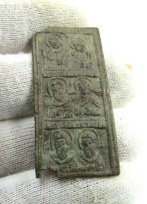 Authentic Late Medieval Era Bronze Icon W/ Saints - J132