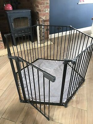 BabyDan Playpen Room Divider Fire Guard Park A Kid Black With Grey Playmat. NG32